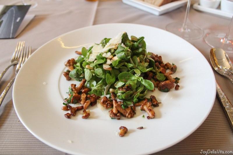 Starter: Salad with warm chanterelles, pine seeds and parmesan cheese in a balsamic dressing --  Kastenmeiers Dresden Restaurant Review Vegetarian Gourmet Dinner - JoyDellaVita.com