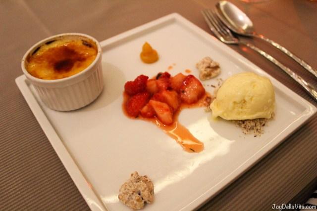 Creme brulee with vanilla ice-cream and marinated strawberries --  Kastenmeiers Dresden Restaurant Review Vegetarian Gourmet Dinner - JoyDellaVita.com