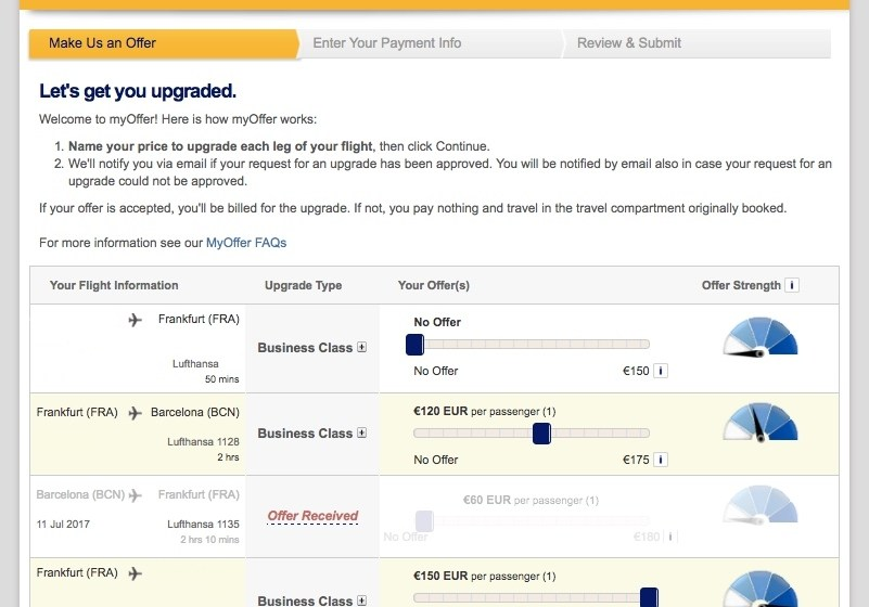myOffer Experience: Lufthansa Upgrade Cash Offer