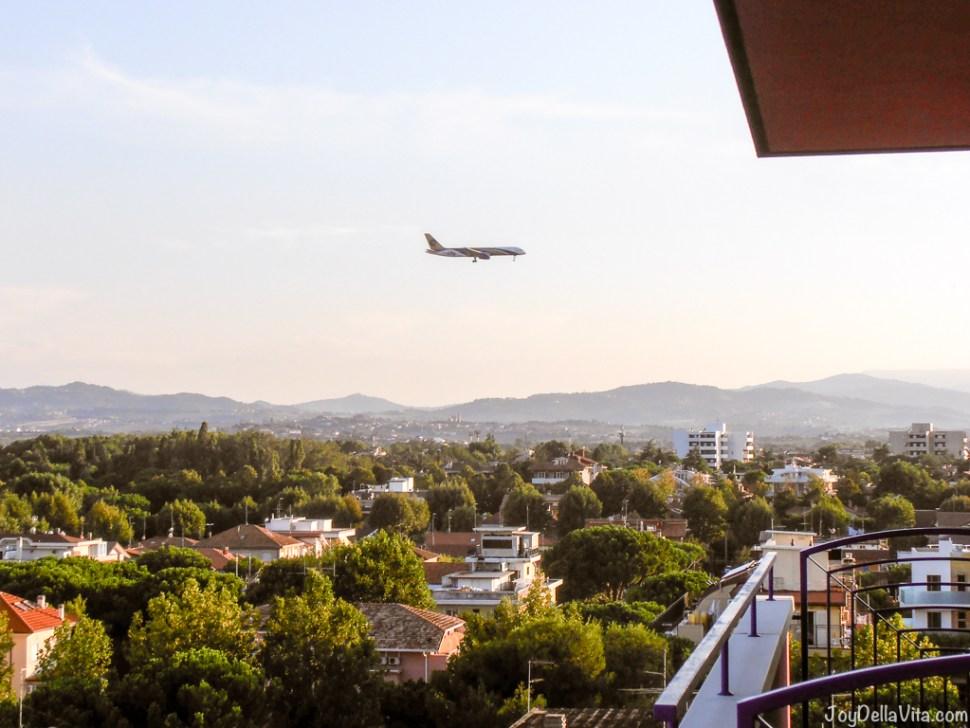 Plane approaching/ landing at Rimini Airport - Hotel Atilius Riccione JoyDellaVita