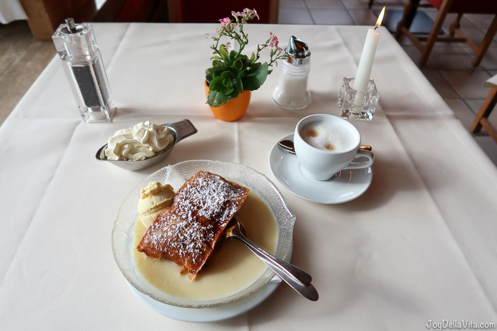 Apfelstrudel with vanilla sauce, vanilla ice-cream, fresh whipped cream and cappuccino