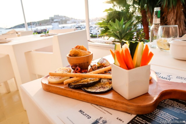 grilled vegetables with hummus, crudities and fried chips as a side dish for Dinner at Rocamar Restaurant Ibiza