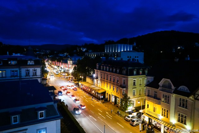 Baden-Baden at night as seen from the rooftop terrace