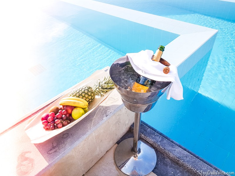 Champagne and Fruits at DAIOS COVE the Mansion Crete