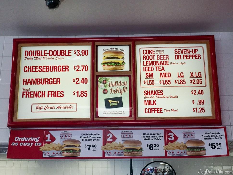 In-N-Out Menu Prices 2017 2018 Los Angeles