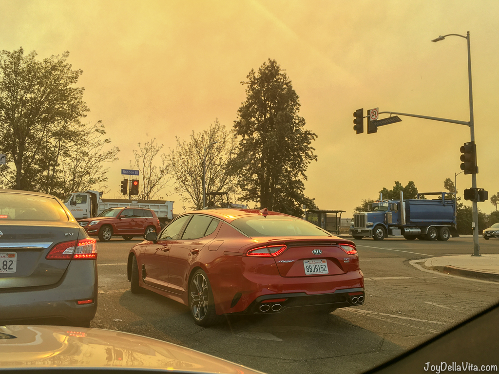 Driving in Northridge near Los Angeles, super bad air quality and almost no visibility due to the Ventura Fire 60 miles away
