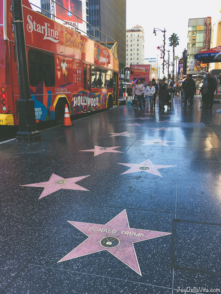 Walking Walk of Fame Hollywood Boulevard Los Angeles Tourist