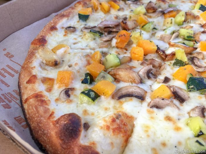 Blaze BYO  Build your Own Pizza creamy white sauce, seasonal squash, mushrooms, zucchini, roasted garlic,  Mozzarella and a final sprinkle of Oregano and Salt