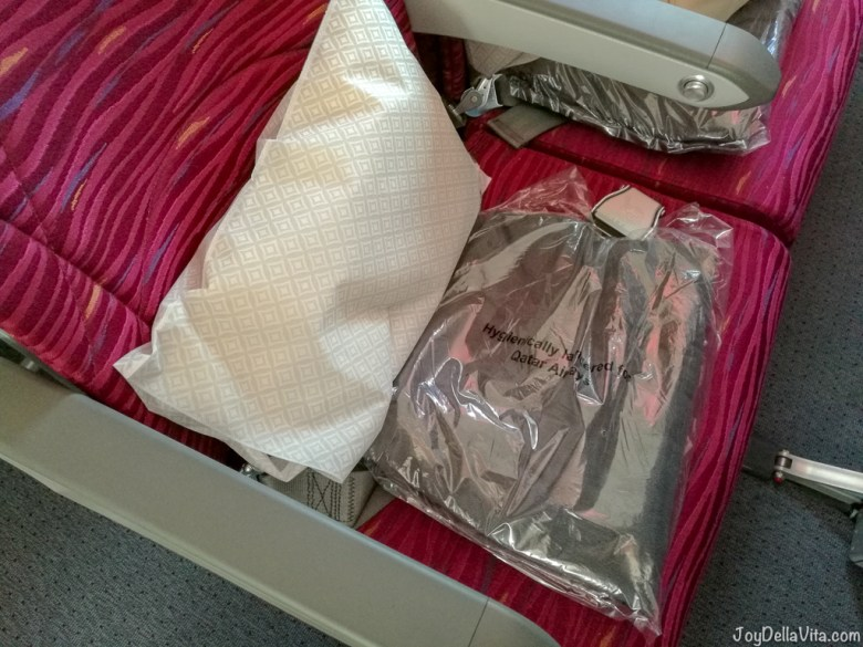 Pillow and Blanket Qatar Airways Boeing 787 Dreamliner Economy Class