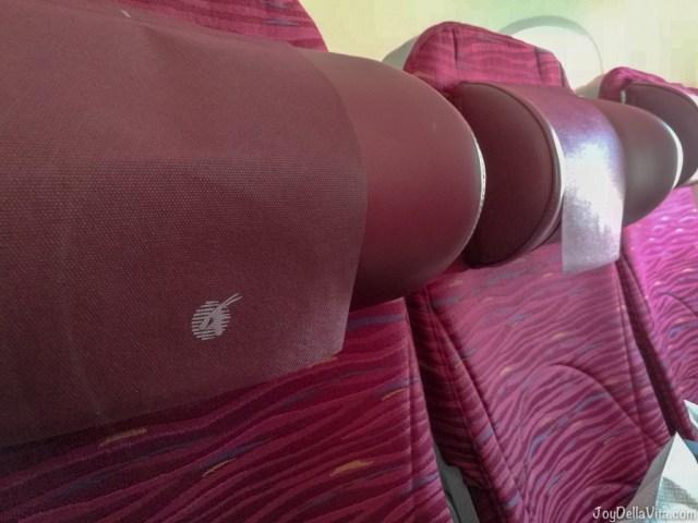 super comfortable Qatar Airways Boeing 787 Dreamliner Economy Class headrests