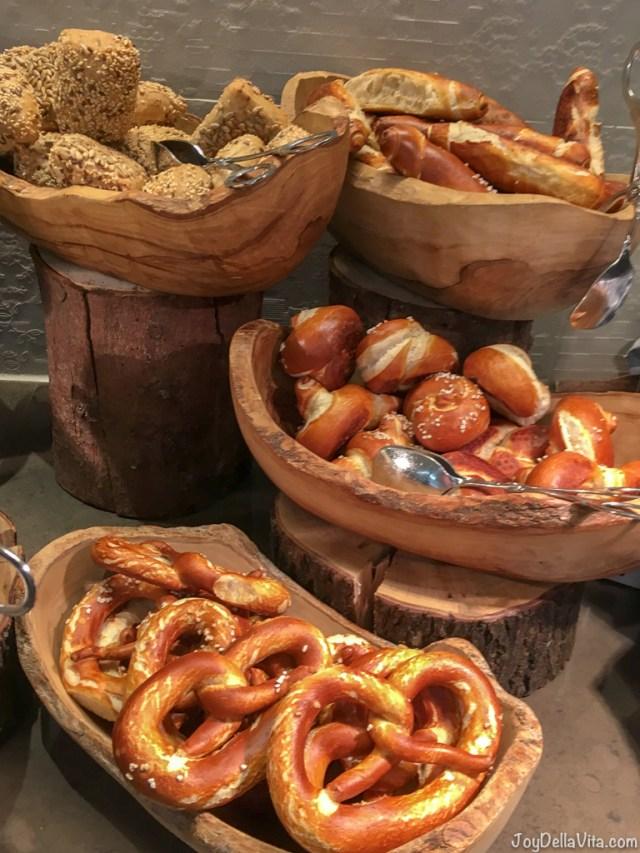 Bread and Bretzel selection at Kempinski Berchtesgaden Breakfast Buffet
