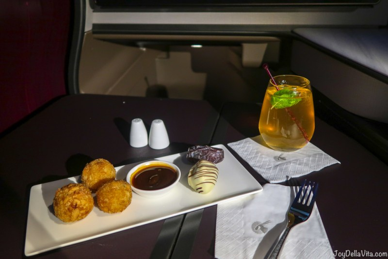 Quick Snack from the Qsuite Snack Menu Qatar Airways Qsuite Business Class
