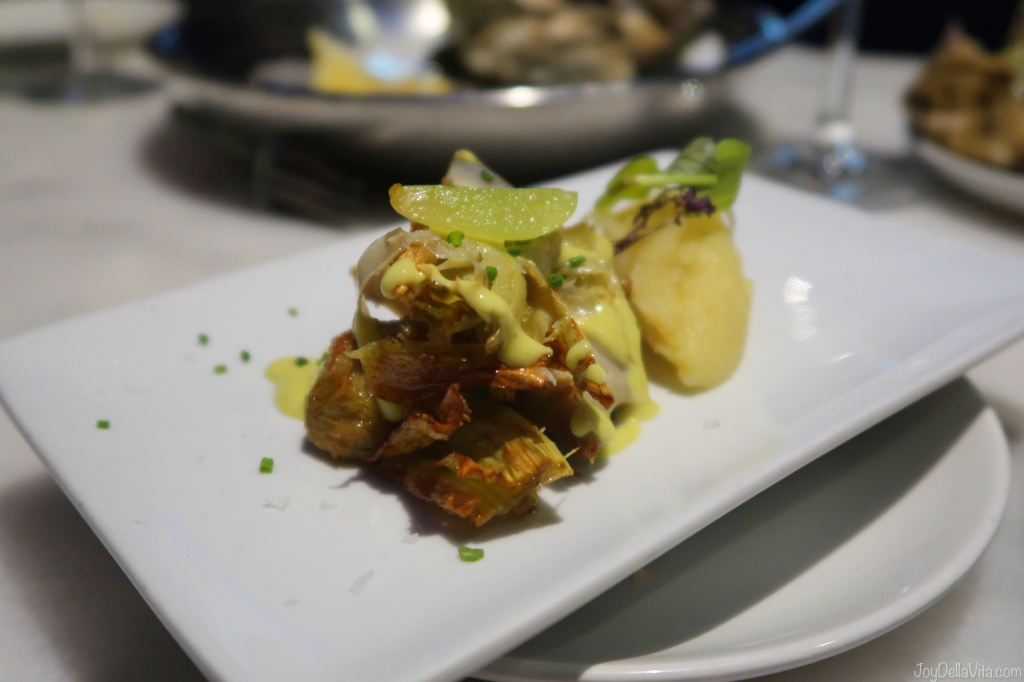 fried artichoke with potato mash KATA4 oyster bar Donostia San Sebastian