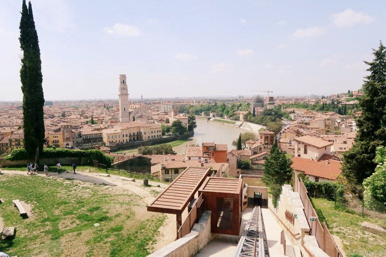 Taking the Funicolare di Verona up to Castel San Pietro