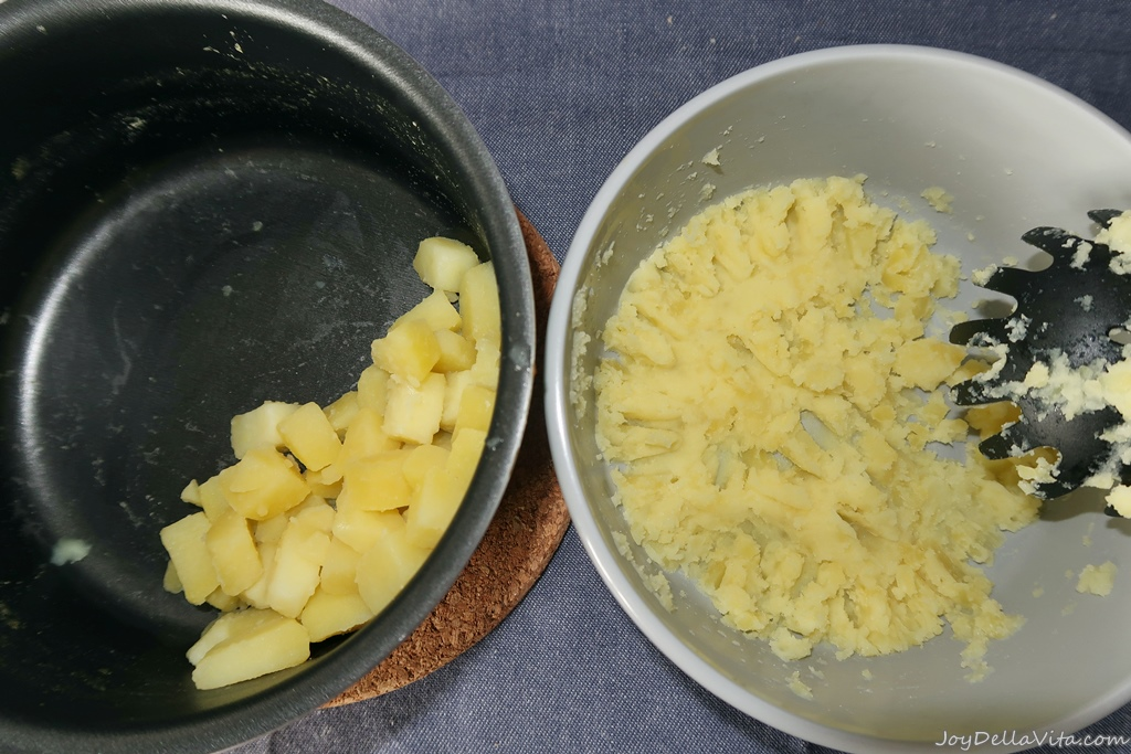 mash the potatoes (but you don't want a mashy-creamy consistency)