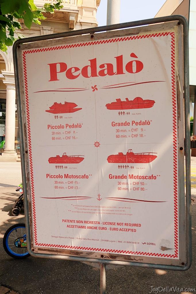 Pricelist Pedalò Boat Rental Lugano, Lake Lugano