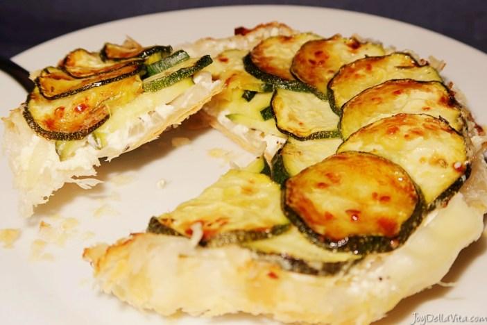 savoury tarte tatin with zucchini and cream cheese