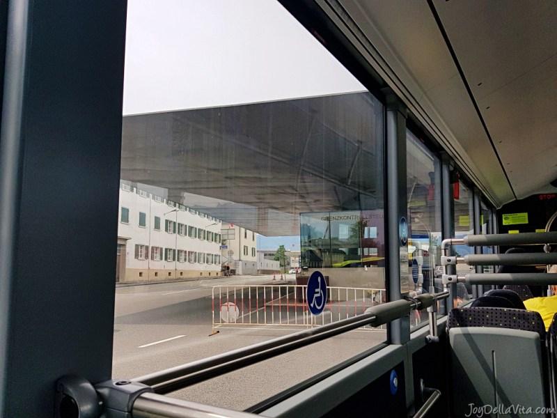 crossing the border between Austria and Liechtenstein in a public bus