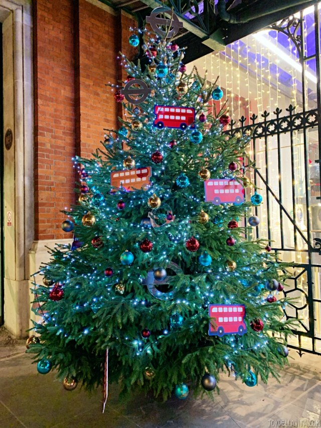 decorated christmas tree at Transport Museum London at Covent Garden