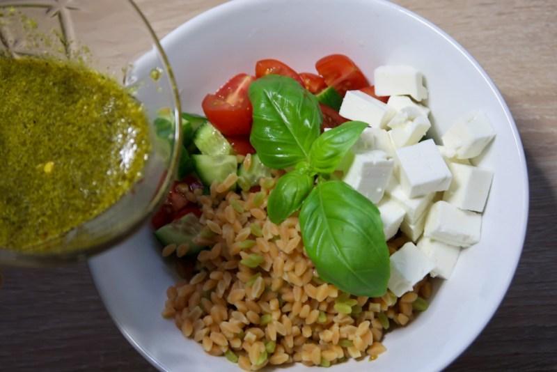 tricolore Risoni Salad with green pesto salad dressing