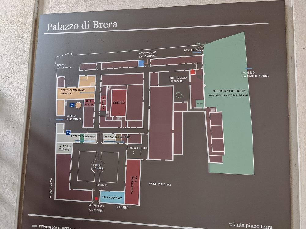 Map Palazzo di Brera Botanical Garden Milan Travel Blog JoyDellaVita