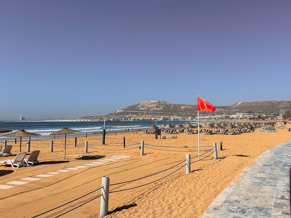 moroccan flag at agadir beach