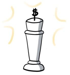 Roi du jeu d'échec avec un dollar à la place de la croix