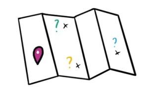 Carte avec différents points d'interrogation comme autant de destinations possibles