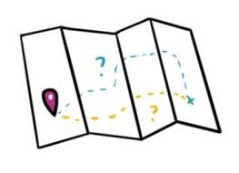 Carte avec deux routes menant à une même destination