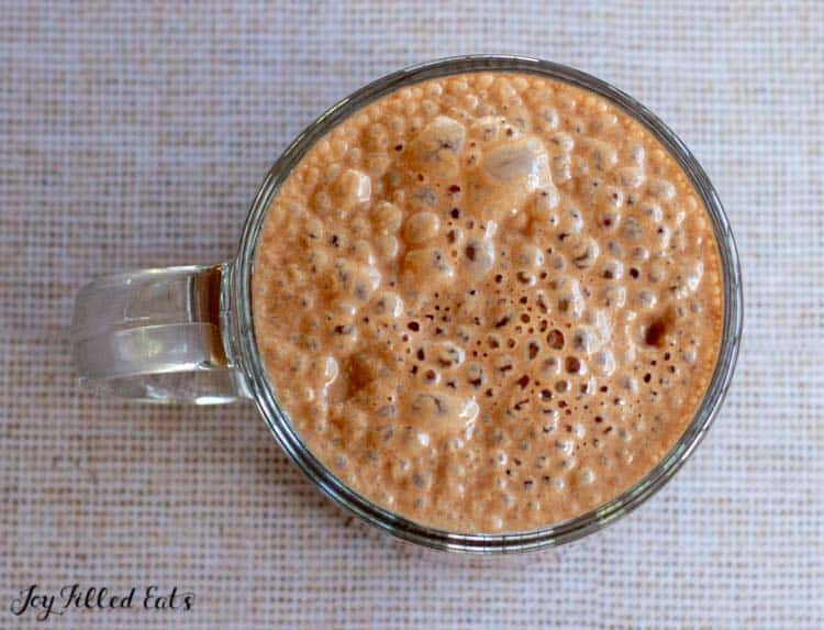 overhead shot of the mug of healthy hot chocolate
