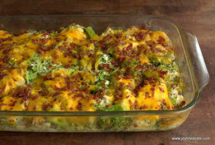 a glass pyrex baking dish filled with Bacon Ranch Chicken Casserole