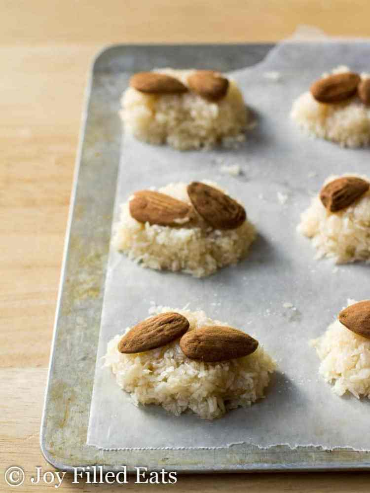 Almonds on top of mounds of coconut filling