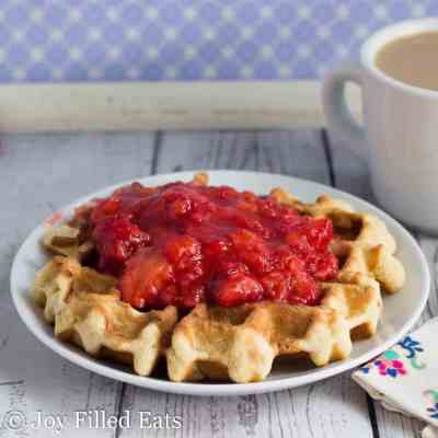 Coconut Waffles with Strawberries
