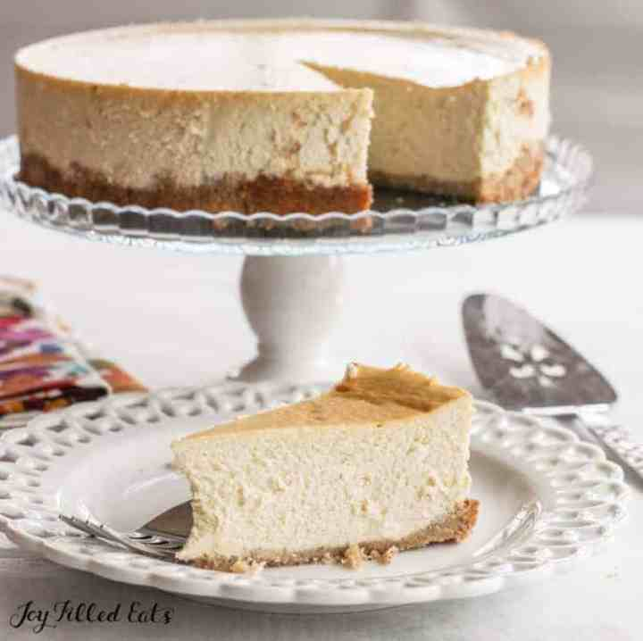 slice of ricotta cheesecake on a white plate