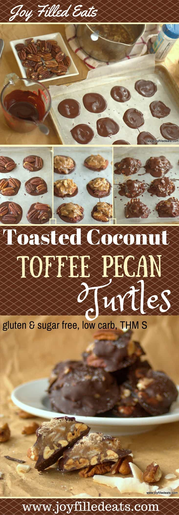 Chocolate + Toffee + Toasted Pecans AND Coconut? Yes. Please. These Turtles are amazing. And sugar free, gluten free, low carb, and THM S approved.
