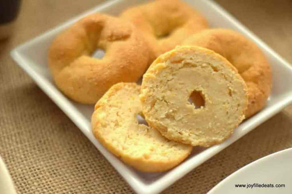 These mini bagels are THM S, low carb, gluten & grain free. And kid approved. My three year old godson gobbled two up at brunch last weekend.