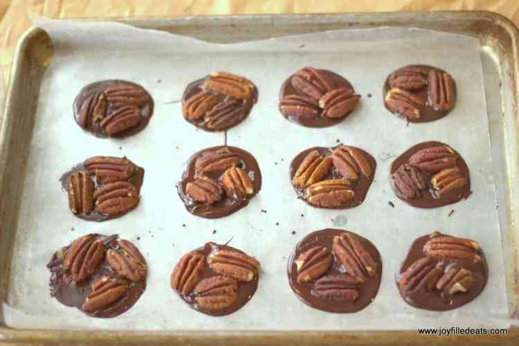 Circles of chocolate with pecans on them