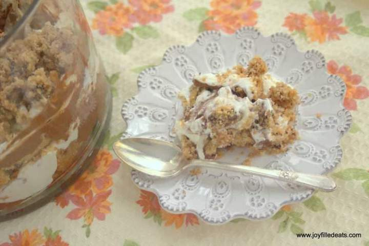 This sugar free, low carb, gluten free Chocolate Chip Cookie Trifle has layers of homemade cookies, chocolate pudding, and fresh whipped cream. It is THM S.