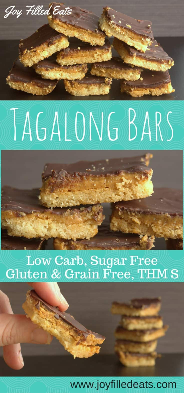 Tagalong Cookie Bars - low carb, sugar free, gluten free, grain free, THM S