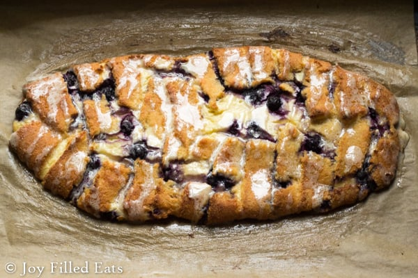 My Braided Blueberry Cheese Danish has golden dough, a ton of cream cheese filling, & pops of blueberries. It is low carb, grain/gluten/sugar free, & THM S.