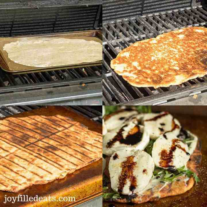four photos showing the steps in making low carb grilled pizza