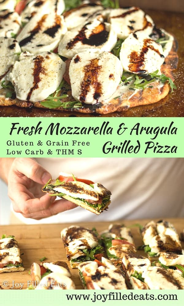 Fresh Mozzarella & Arugula Grilled Pizza featuring Stella cheese - Low Carb, Grain & Gluten Free, THM S