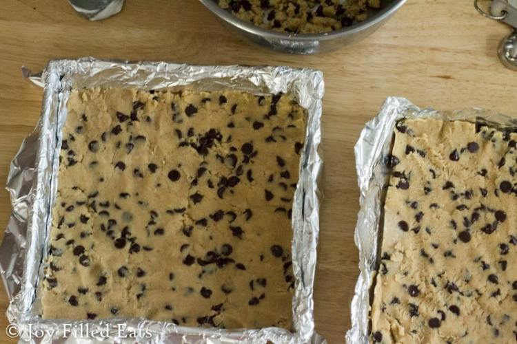 Eggless cookie dough for the ice cream sandwiches in foil lined pans