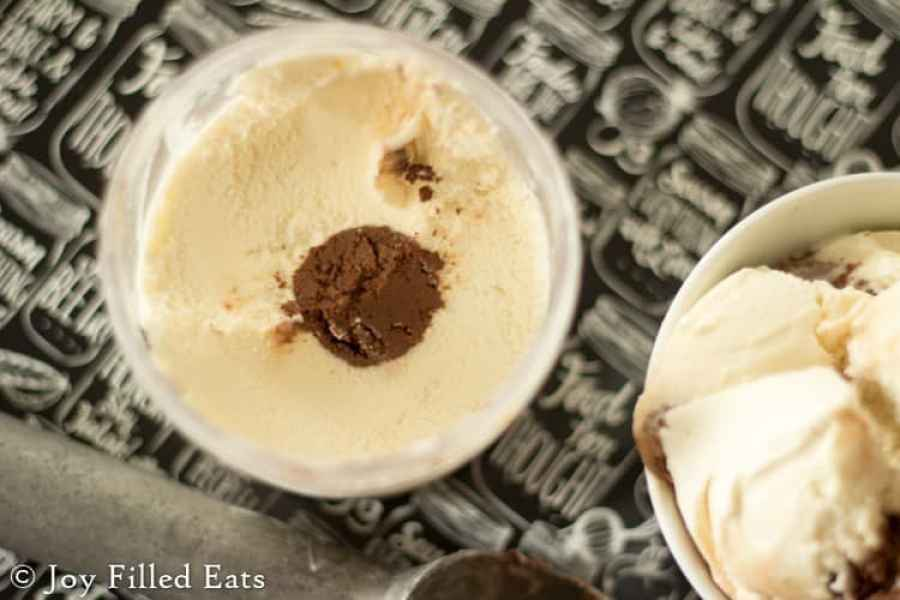 Vanilla Ice Cream with a Chocolate Truffle Core - Low Carb, Sugar Free, THM S