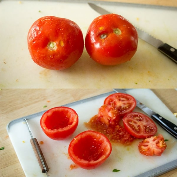 A friend gave me some nice tomatoes but the tops were a little spotty. Therefore, they were perfect for making little tomato cups.
