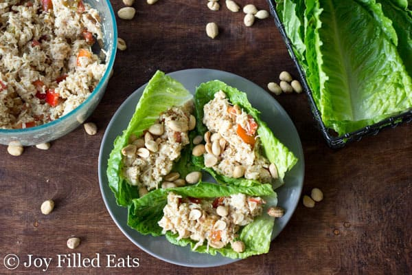 Easy Thai Chicken Salad Lettuce Wraps