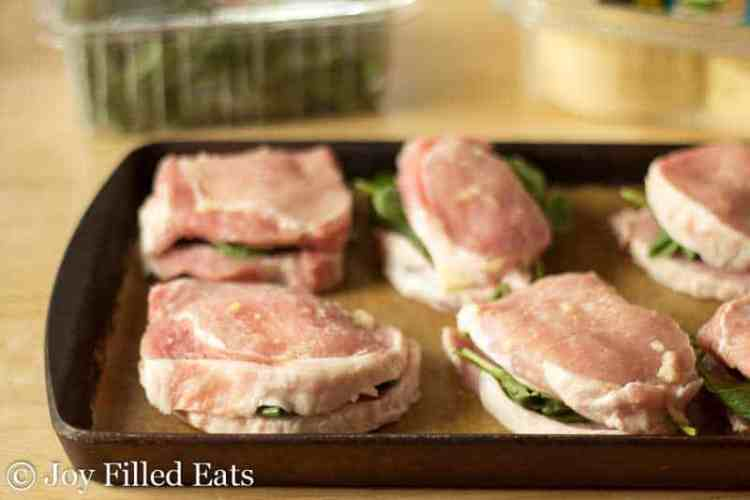 Stuffed Pork Chops ready to be baked