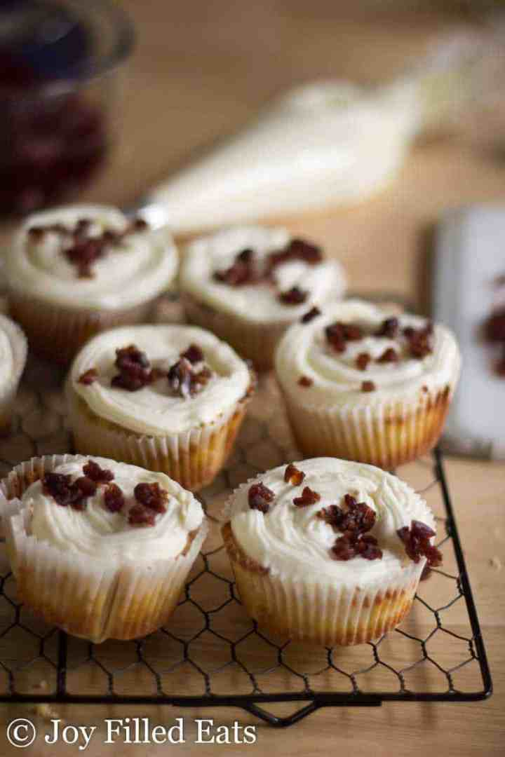 Cranberry Bliss Cupcakes - Low Carb, Gluten Free, Sugar Free, THM S, Grain Free