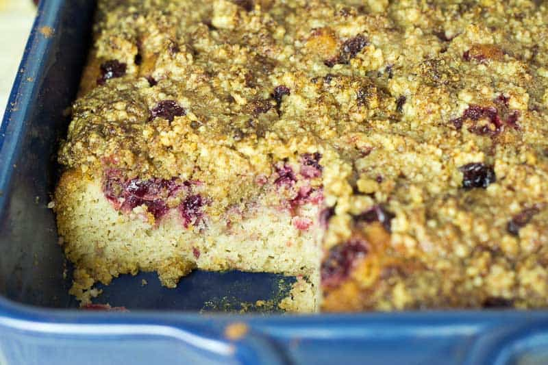 Cranberry Walnut Crumb Cake - Low Carb, Dairy Free, Grain Free, Gluten Free, Sugar Free, THM S