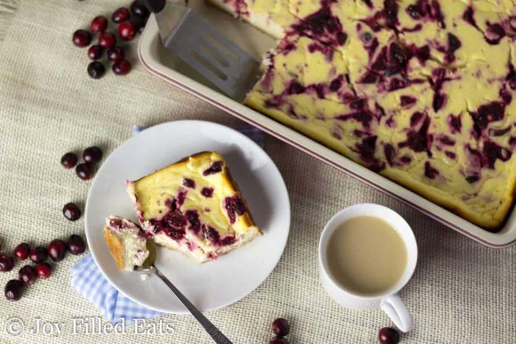 Cranberry Swirl Cheesecake Bars - Low Carb, Grain/Nut/Sugar Free, THM S